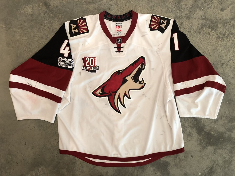 2016-17 Mike Smith game worn road jersey with Coyotes 20th anniversary patch