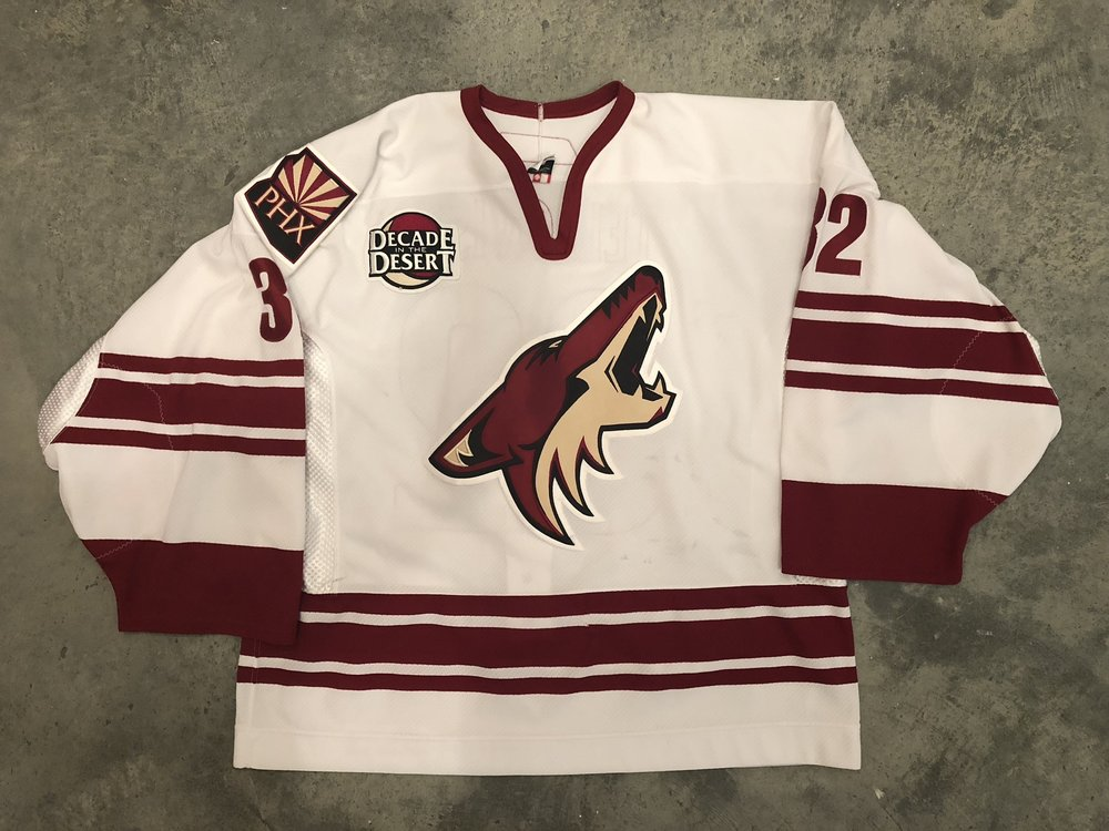 2006-07 Mikael Tellqvist game worn road jersey with Decade in the Desert patch