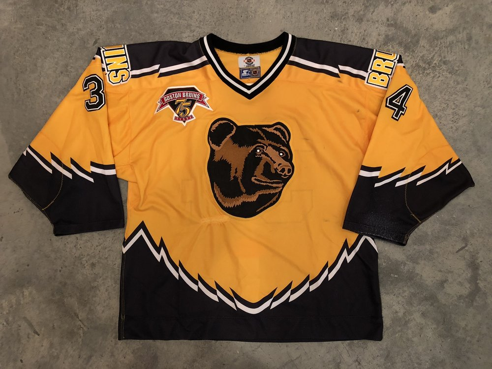 1998-99 Byron Dafoe game worn alternate jersey with Bruins 75th anniversary patch