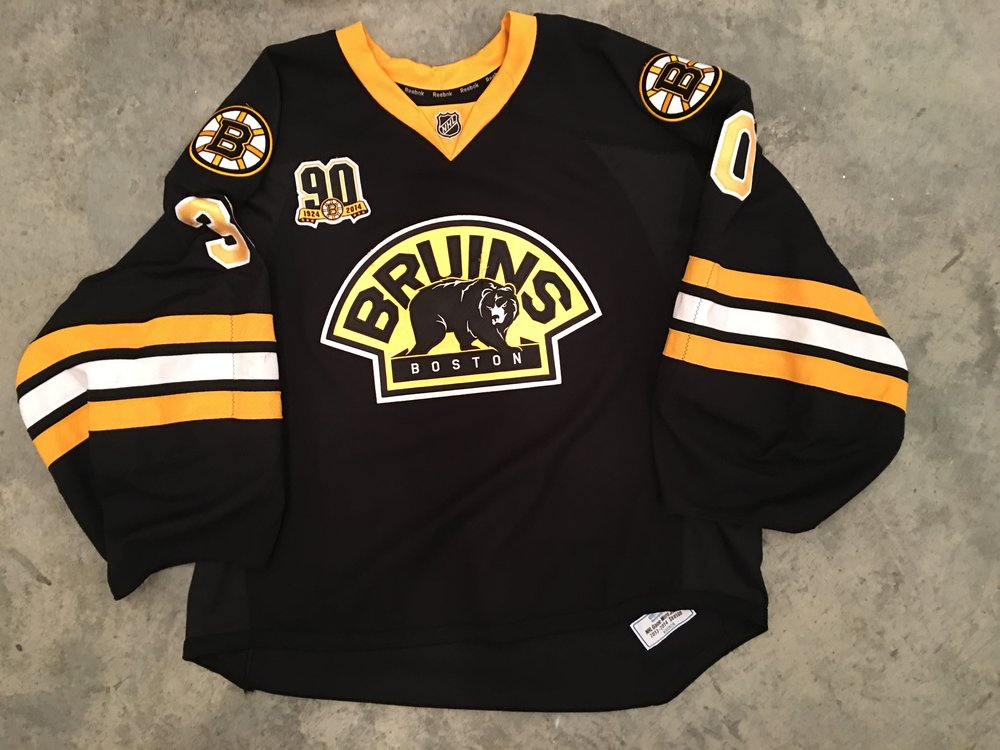 2014-15 Chad Johnson game worn alternate jersey with Bruins 90th anniversary patch