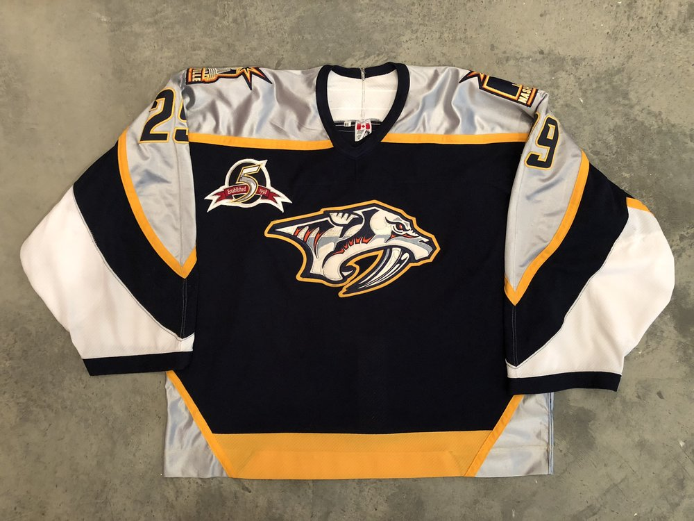 2002-03 Tomas Vokoun game worn road jersey with Predators 5th anniversary patch