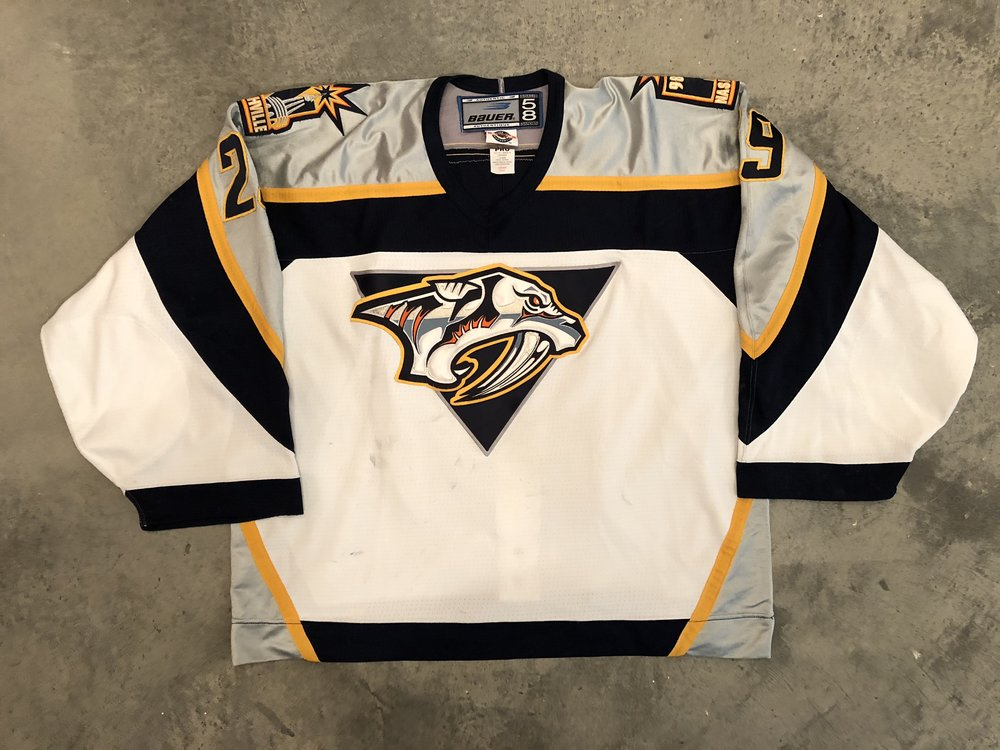 1998-99 Tomas Vokoun game worn home jersey with Predators 98 inaugural season patch