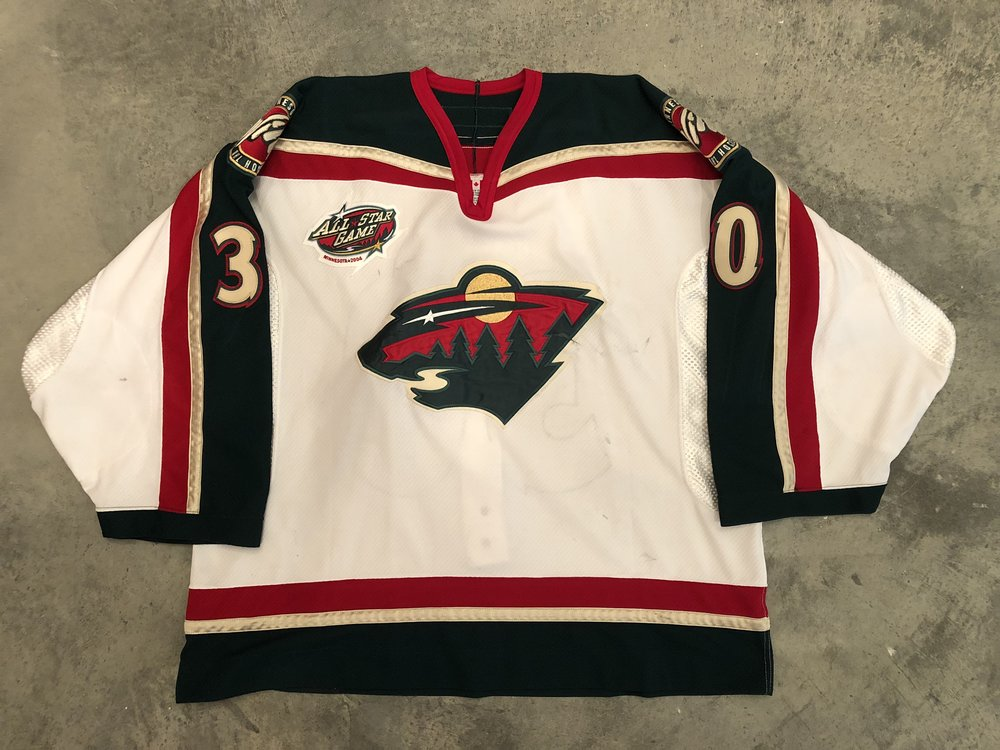 2001-02 Dwayne Roloson game worn home jersey with 2002 NHL All Star Game patch