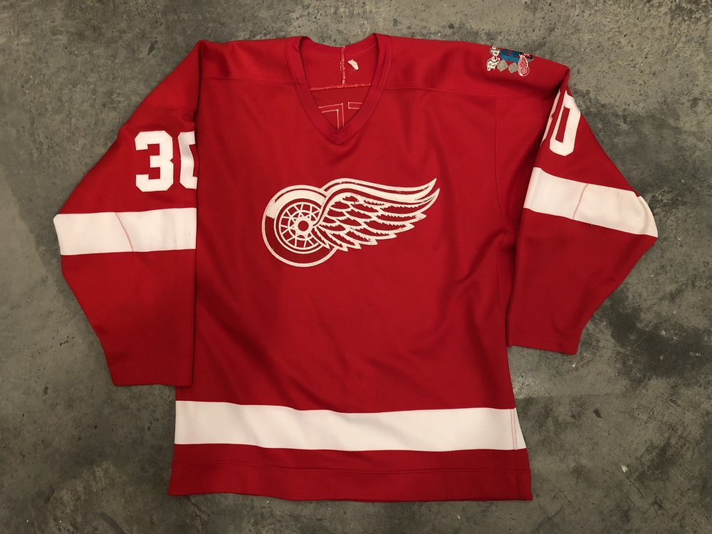 1985-86 Greg Stefan game worn road jersey with the Red Wings 60th anniversary patch