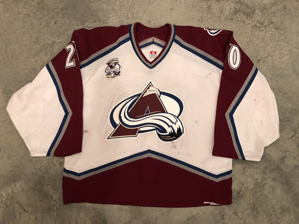 2005-06 Vitaly Kolesnik game worn road jersey with the Avalanche 10th anniversary patch