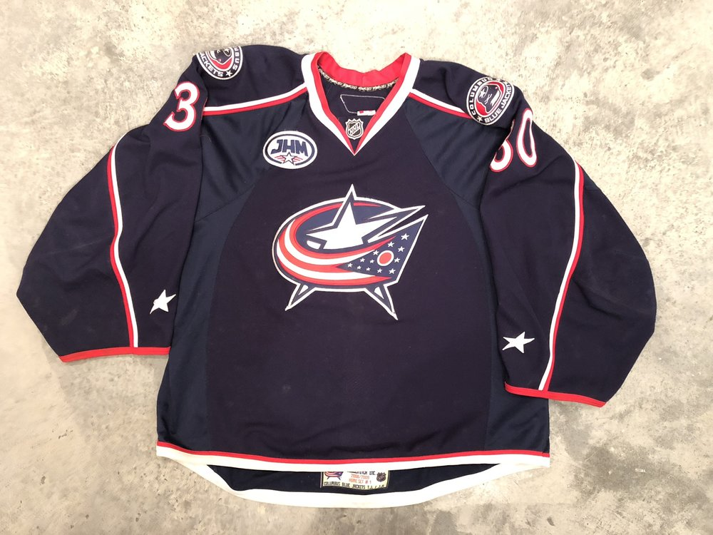 2008-09 Fredrik Norrena game worn home jersey with JHM - John Henderson McConnell memorial patch