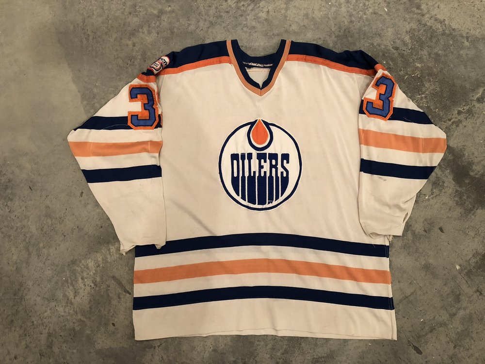 1980-81 Gary Edwards game worn home jersey with Province of Alberta 75th anniversary patch.