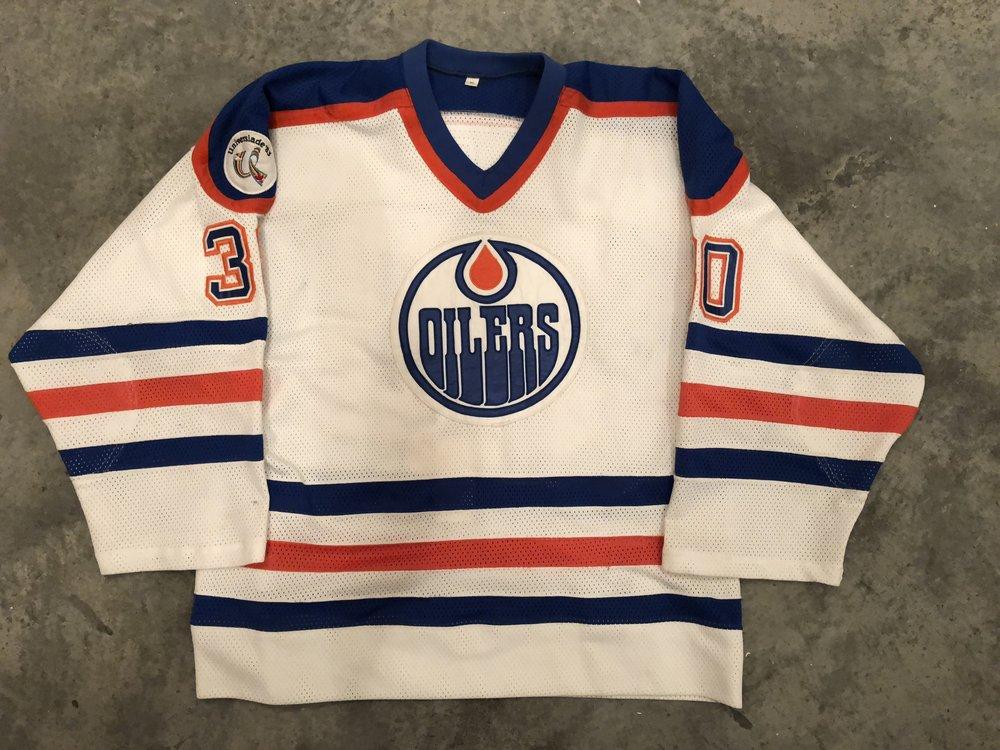 1982-83 Ron Low game worn home jersey with the Universiade 1983 patch