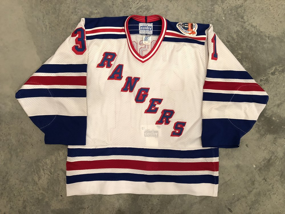 1993-94 Corey Hirsch game issued home jersey with the 1994 Stanley Cup Finals patch