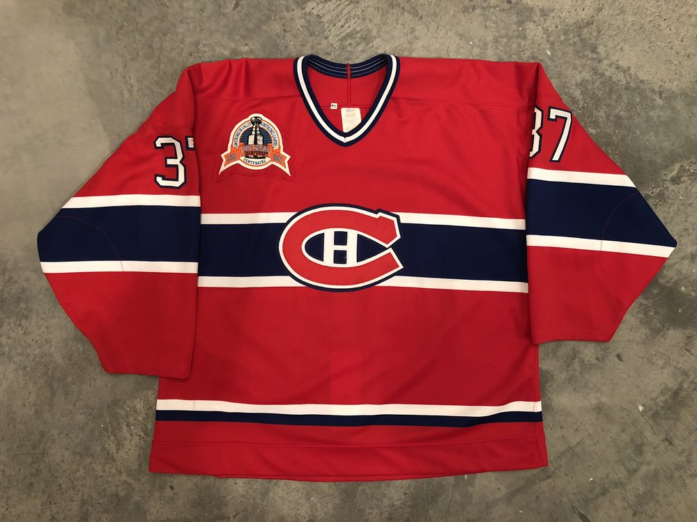1993 Andre Racicot game worn road jersey with the 1993 Stanley Cup Finals patch