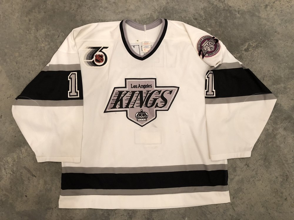 1991-92 Steve Weeks game worn home jersey with NHL 75th anniversary and Kings 25th anniversary patches