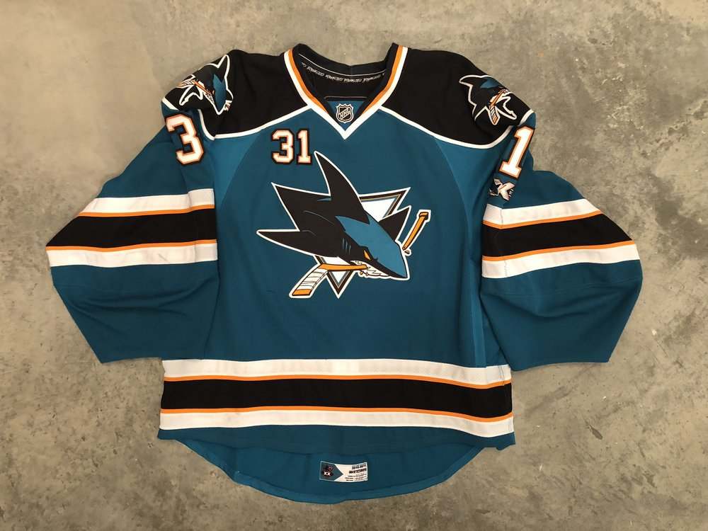 2010-11 Antii Neimi game worn home jersey with Sharks 20th anniversary patch