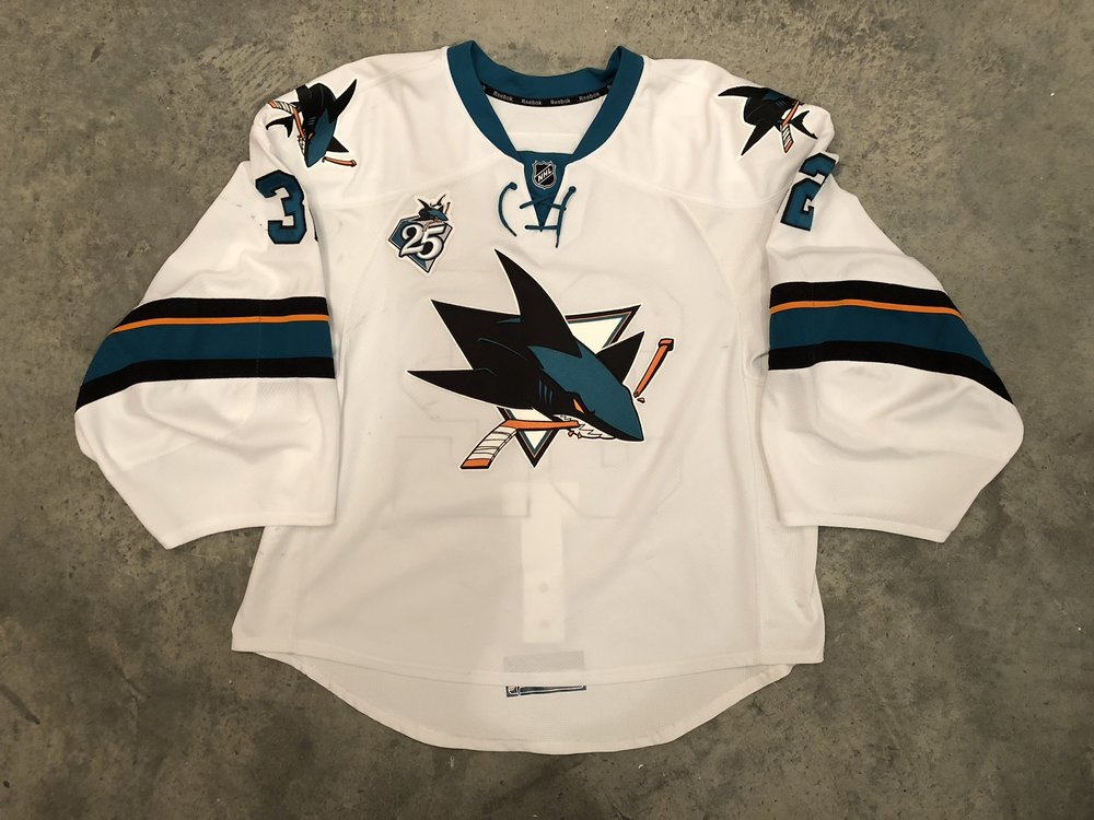 2015-16 game worn Alex Stalock game worn road jersey with Sharks 25th anniversary patch