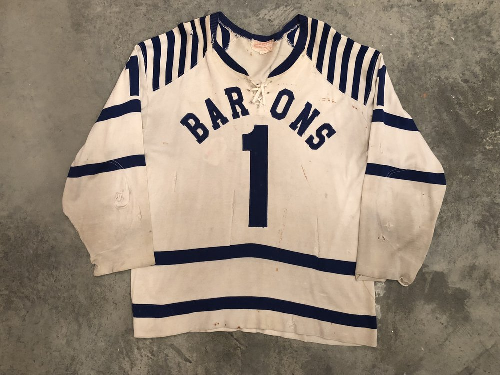 1957-58 Johnny Bower Cleveland Barons Game Worn Home Jersey