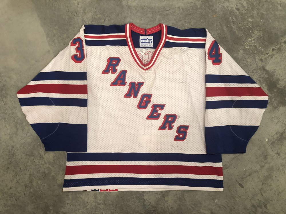 1990-91 New York Rangers game worn home jersey