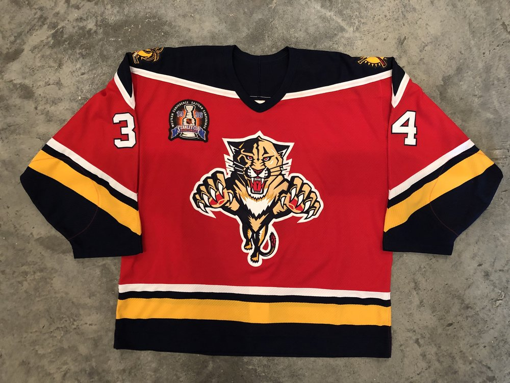 1996 John Vanbiesbrouck game worn road jersey with the 1996 Stanley Cup Finals patch