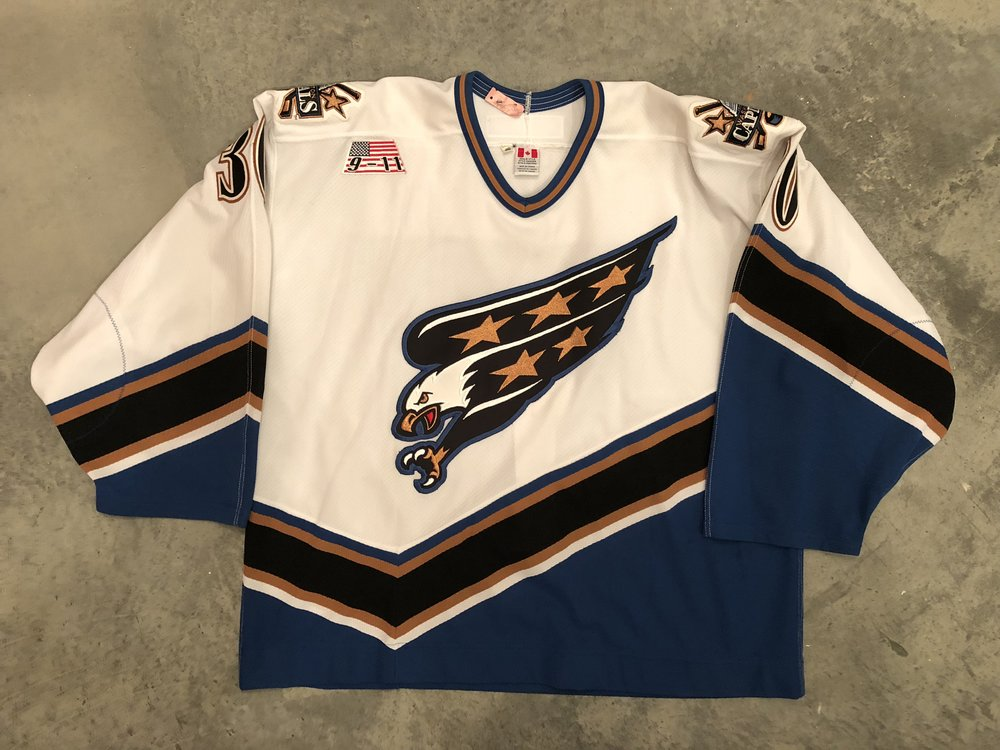 2001-02 Michel Oullet game issued home jersey with 9-11 memorial patch