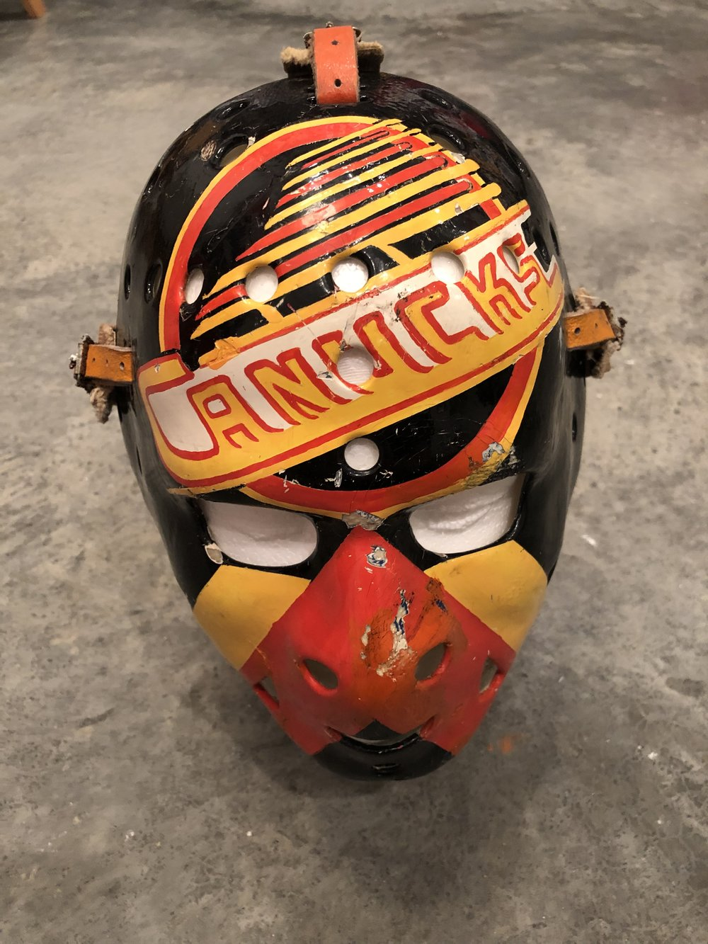 1982-85 John Garret Vancouver Canucks game worn mask