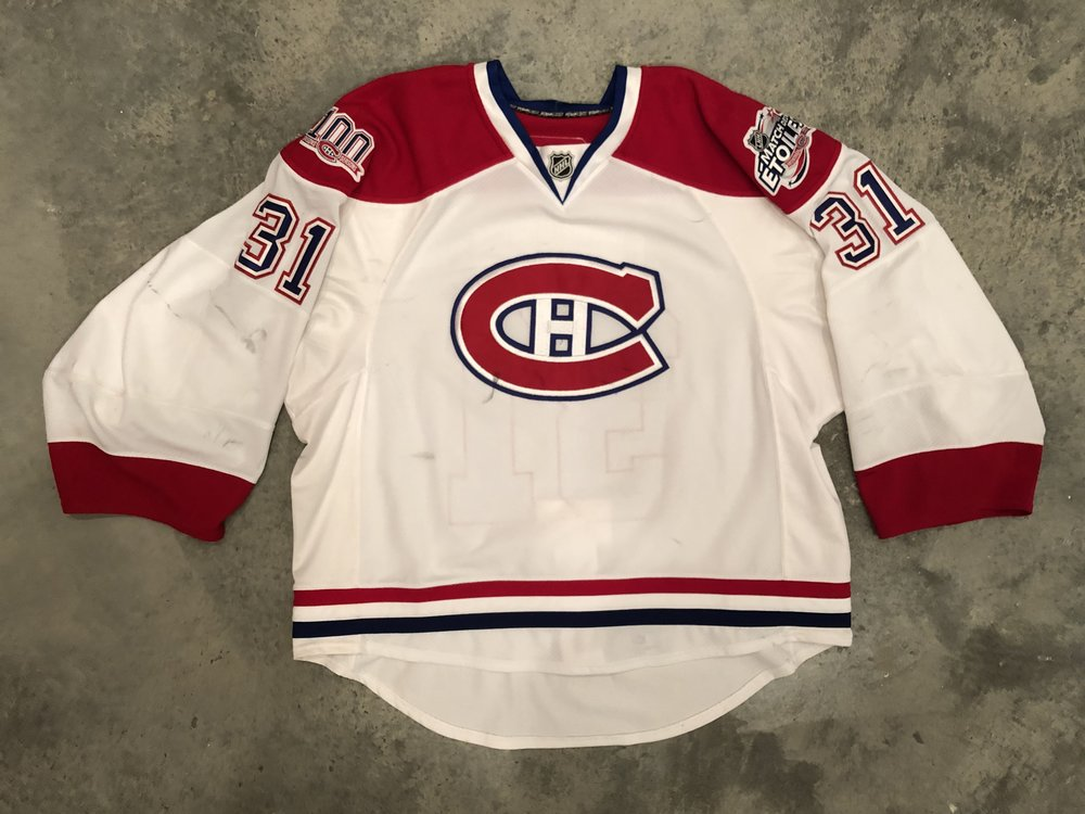 2008-09 Carey Price game worn road jersey with Canadiens 100th Season and 2009 NHL all star game patches