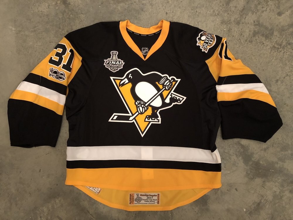 2017 Sean Maguire Pittsburgh Penguins game issued jersey with Penguins 50th anniversary, NHL centennial, and 2017 Stanley Cup Finals patches.