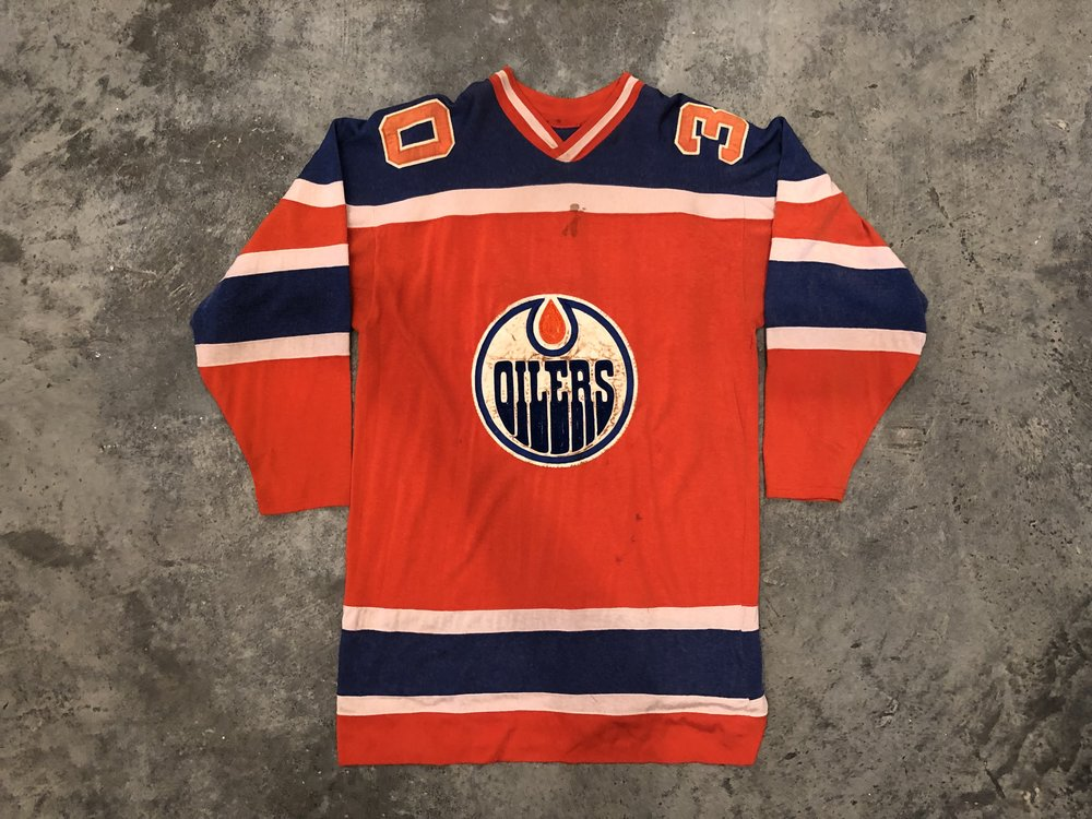 1972-73 Jack Norris & 1974-75 Jacques Plante Edmonton Oilers game worn road jersey