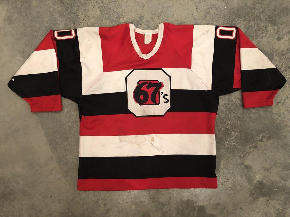 1994-95 Kevin Weekes Ottawa 67's Game Worn Barberpole Jersey