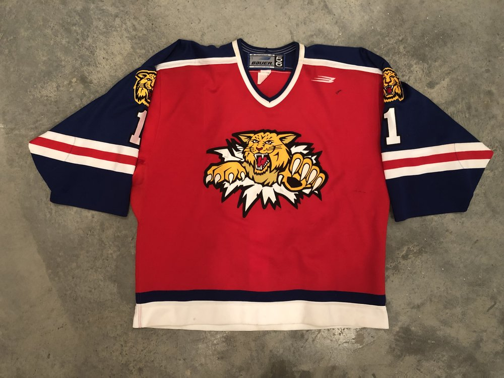 1999-00 Moncton Wildcats Danny Bowie Game Worn Road Jersey