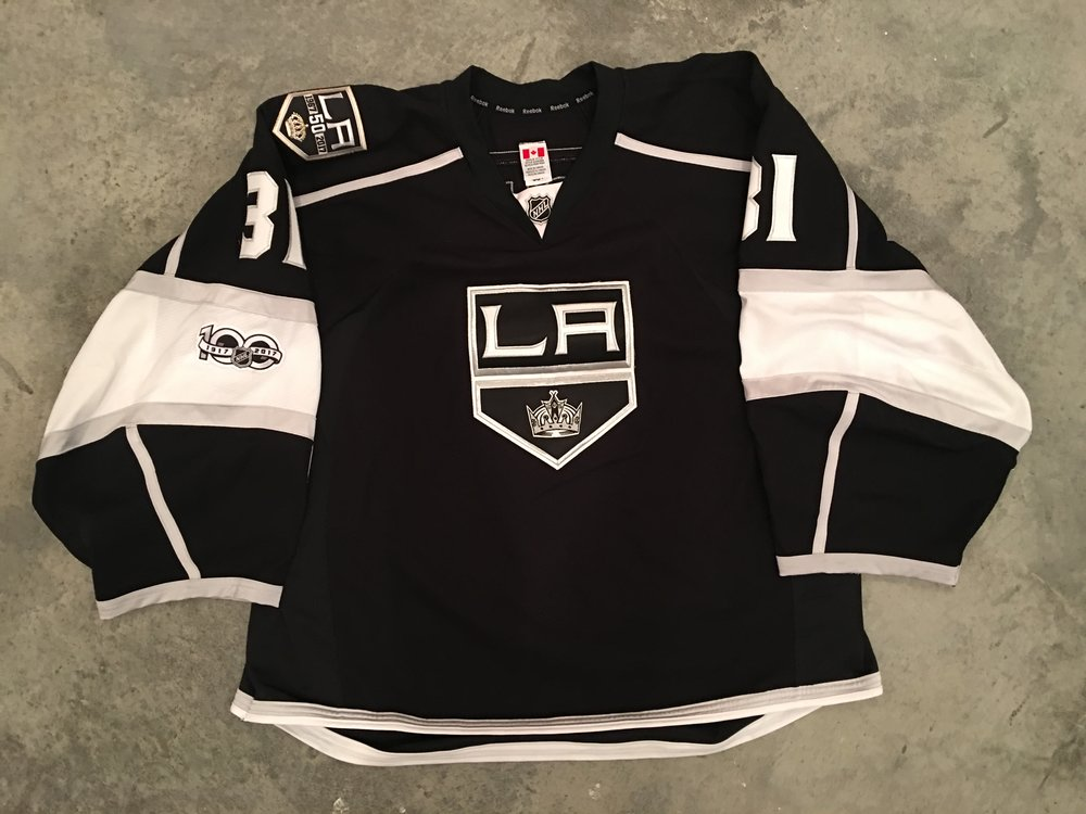 2016-17 Ben Bishop game worn home jersey with Kings 50th anniversary patch, and NHL Centennial patch - PHOTO MATCHED   For Sale or trade - $1,100