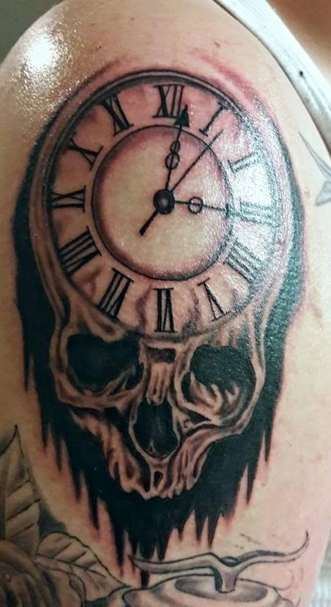 Custom skull and clock by Scott Sherrill