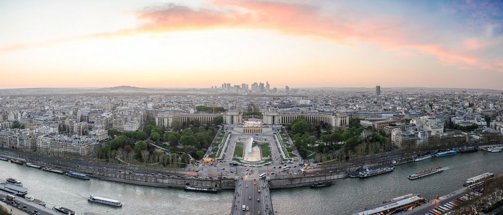 Fig. 2. A panoramic view of Paris from the northwest as seen from the Eiffel Tower. CC BY 2.0 by Alexander Kachkaev.