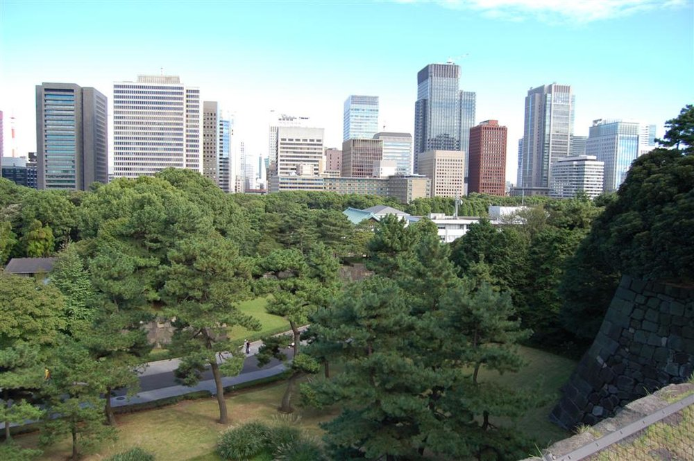 Fig. 4. View of the skyscrapers of Tokyo from the grounds of the Imperial Palace.CC BY-NC-ND 2.0 by Alex Masters.
