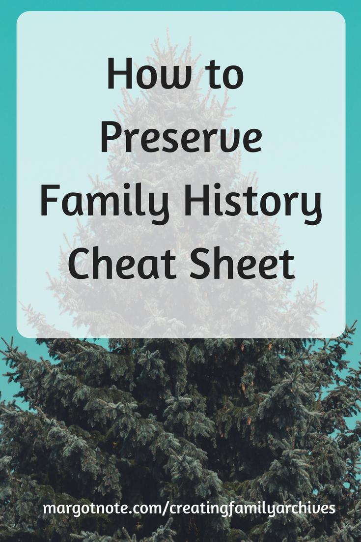 How to Preserve Family History Cheat Sheet