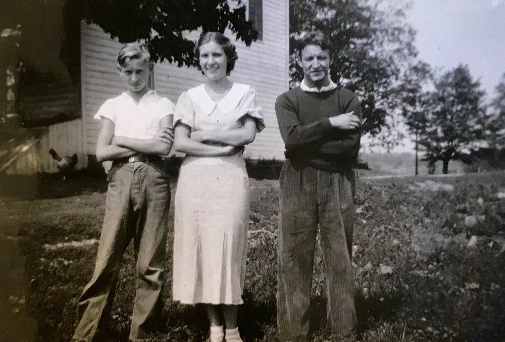 Joseph Zabit (Grandma's step-brother), Ann, and Ray in September 7, 1936