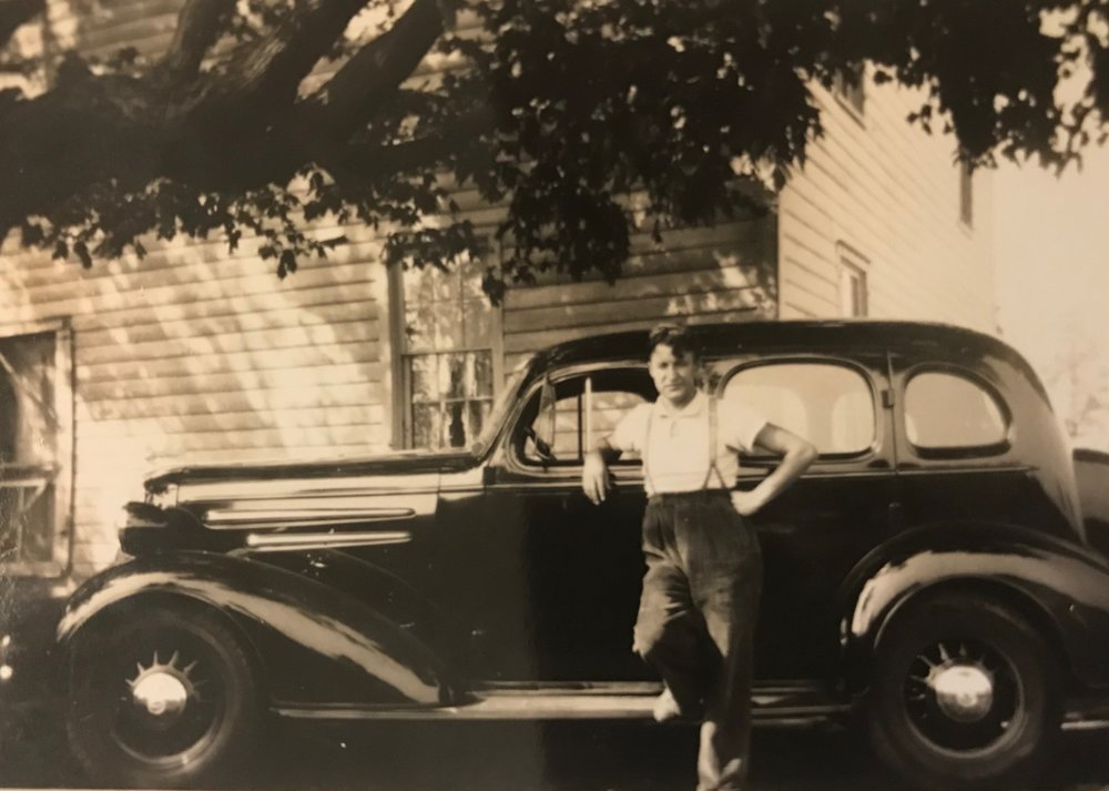 An undated picture of my Grandpa (probably in the 1930s in Paterson, NJ) with his car.