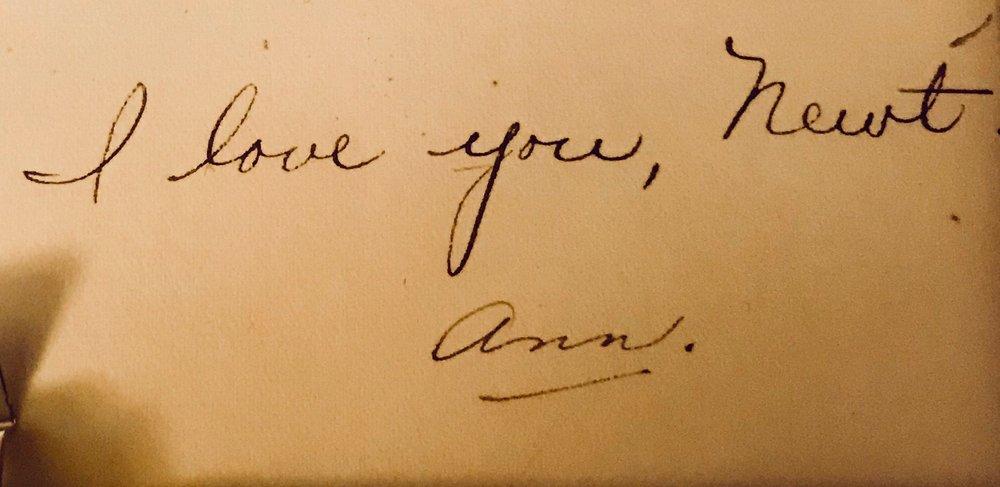 Grandma's note to Grandpa