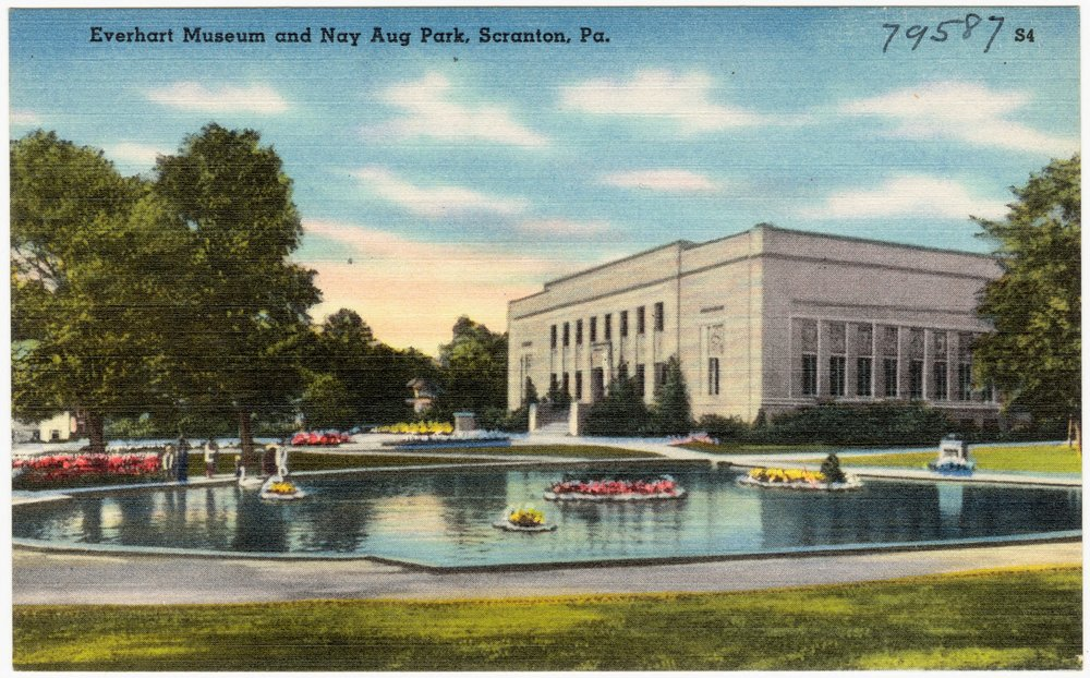 A 1940s postcard view of the museum and the park