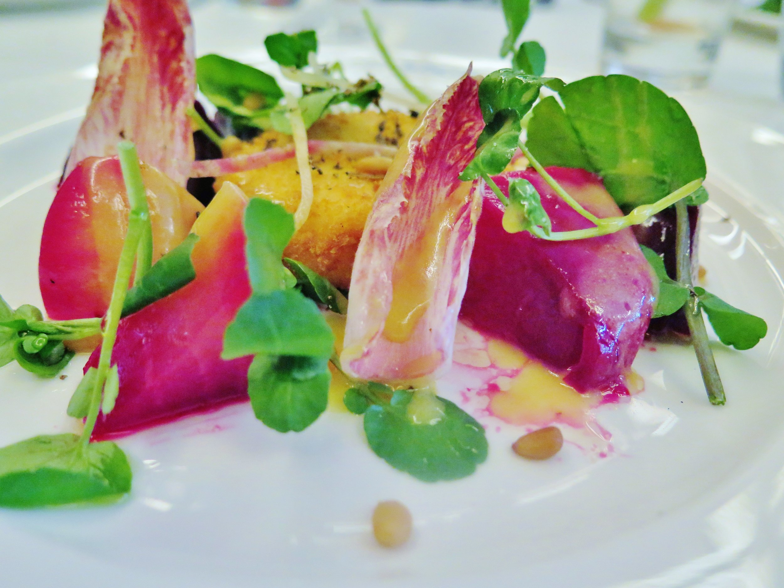heritage beets, crispy goat's cheese with a truffle honey dressing, Le Caprice