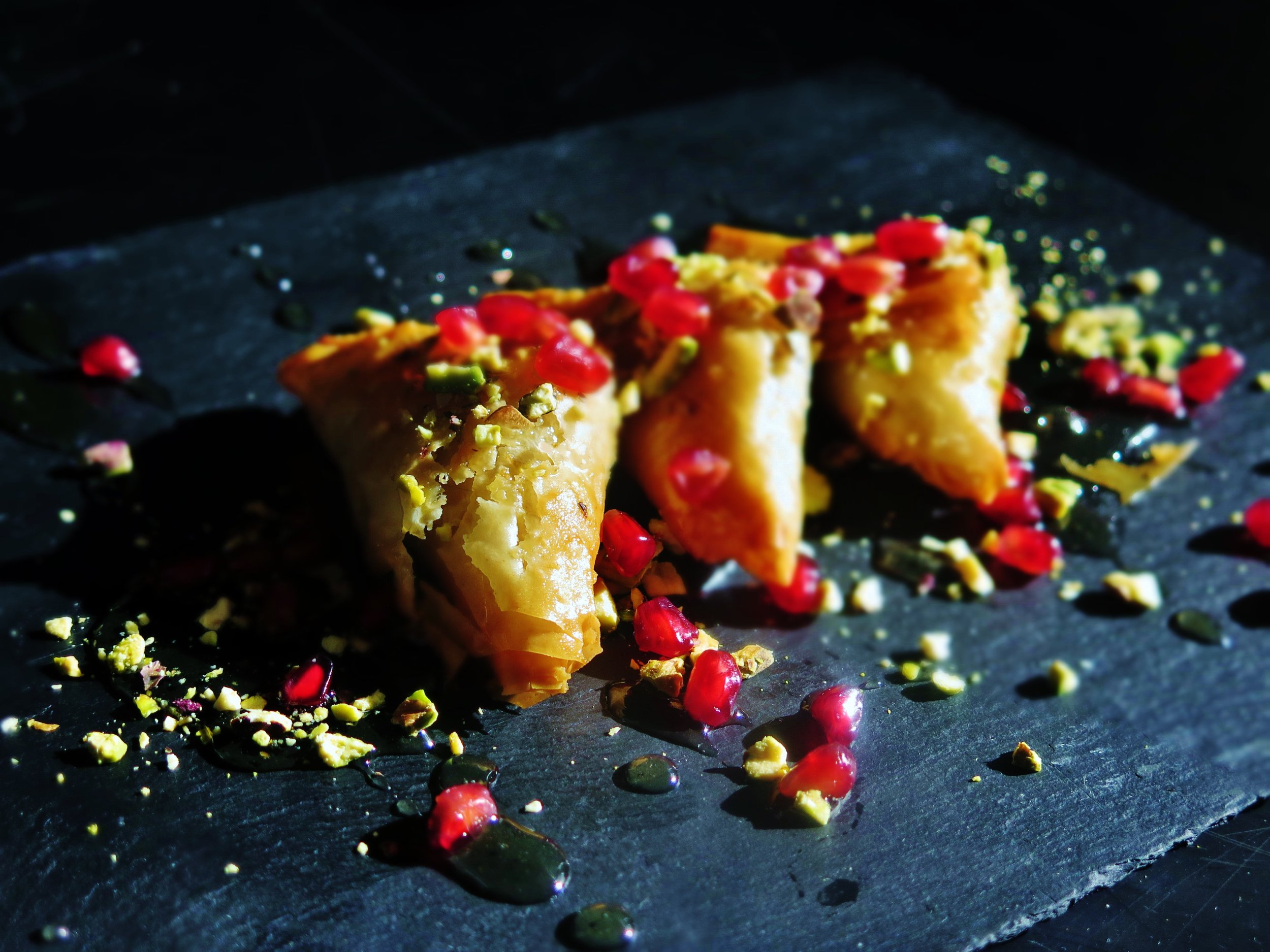baklava with ground pistachio & pomegranate