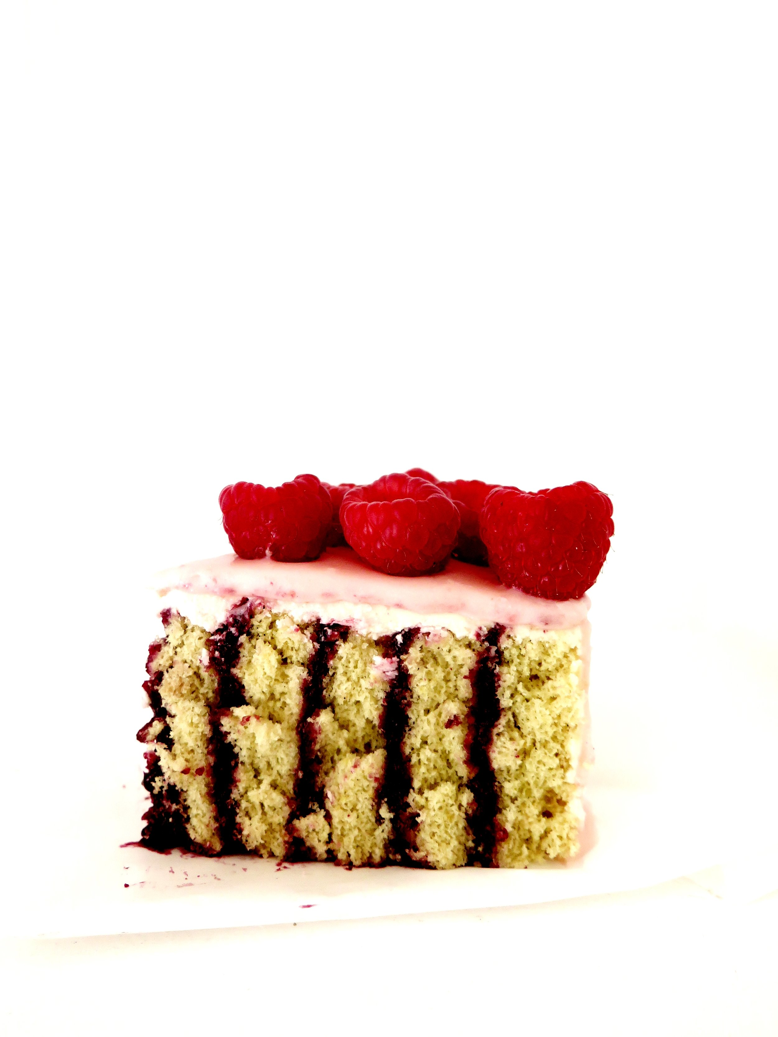 Stripy Lemon & Raspberry Cake