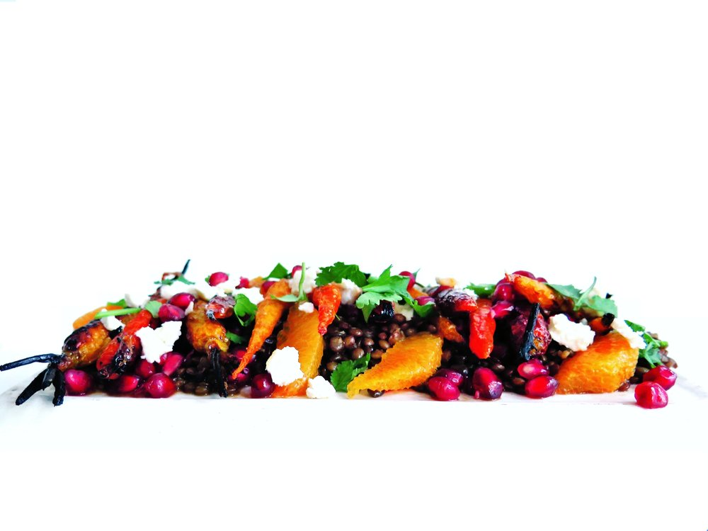 Sticky Glazed Carrot, Pomegranate, Orange, Lentil & Feta Salad - Recipe