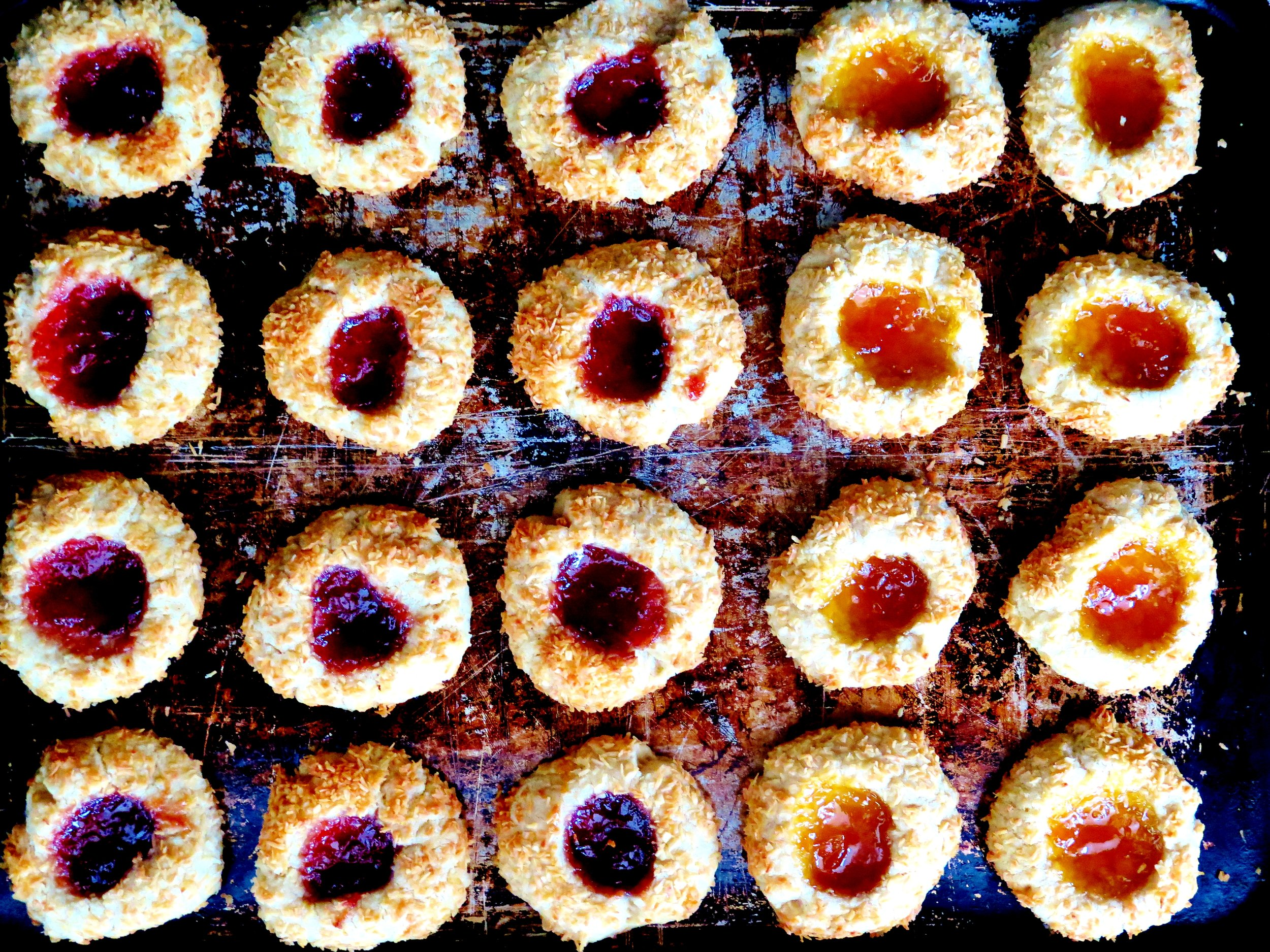 Coconut & Strawberry Jam Thumbprint Cookies