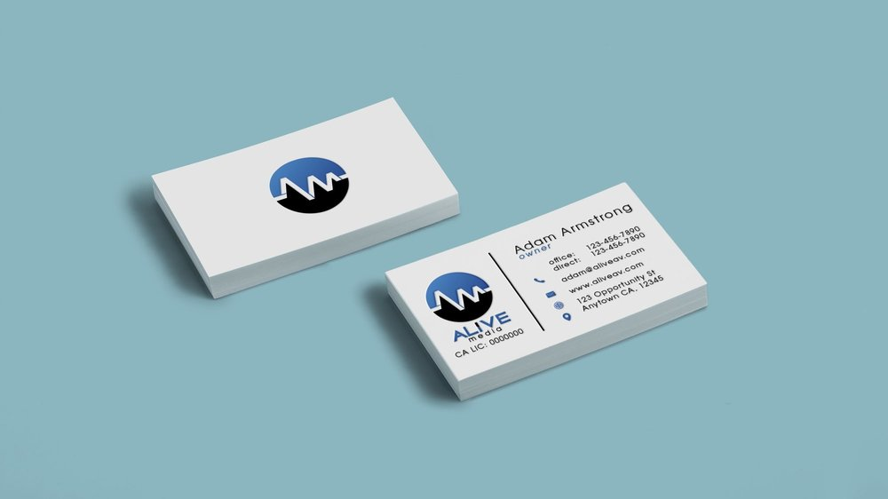 Alive Media business card design.