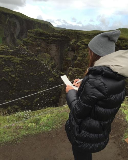 Drawing at Fjaðrárgljúfur