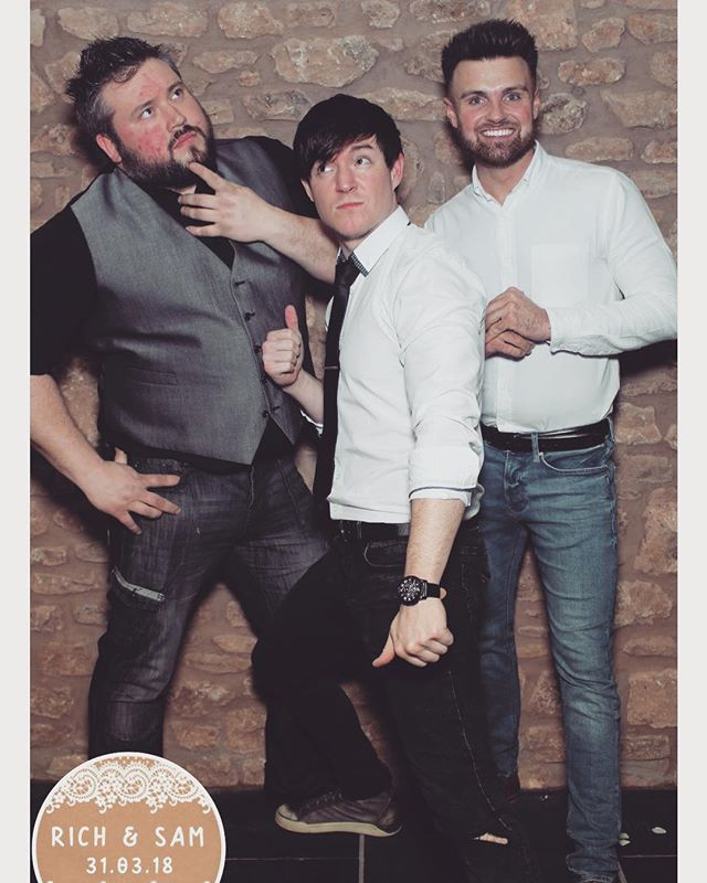 We love being apart of big days! 🎩👑🎊🎉 - Many Thanks to Sam + Rich on inviting us to their most beautiful occasion! Here's a complimentary #photobooth #selfie for you all to enjoy!🎤🎤🎸 - 📸 - #Wedding #Photo #Shirt #Nobelt #Smiles  #Quantock #Lakes #Private #Function #Beatbox #Vocals #Guitar