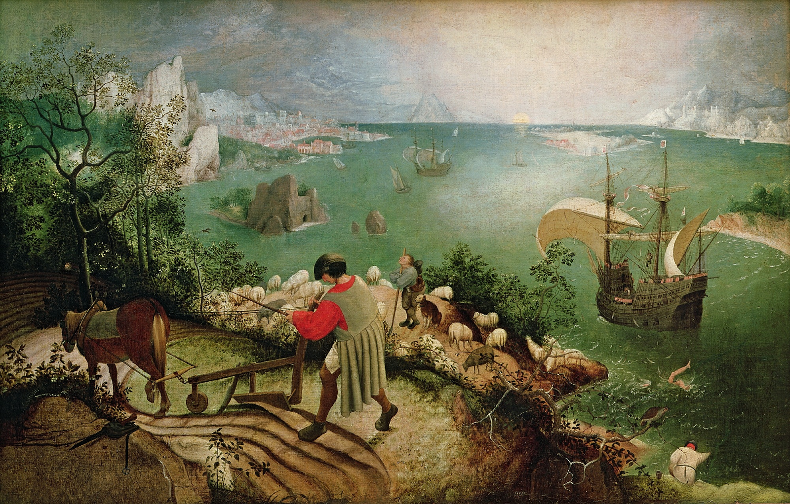 Landscape with the Fall of Icarus long thought to be by Pieter Bruegel.