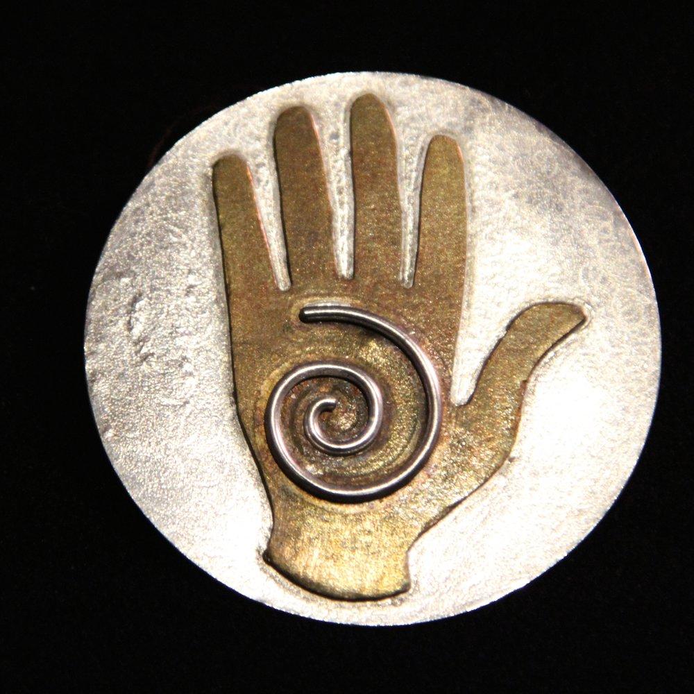 Mandala brooches and pendants barbara jean larsen metals and stones energy healing hand buycottarizona Image collections