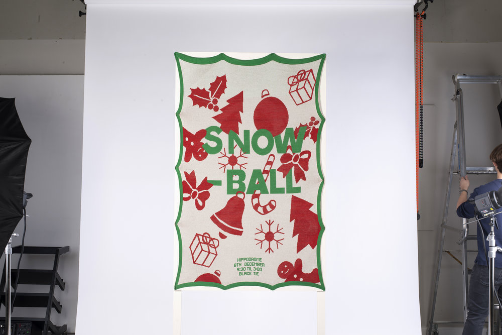 To fundraise for our uni degree show, Ed Goodger and I made a big ol' knitted poster for a Christmas ball, inspired by tacky festive knits. The event sold over 700 tickets and we had all the fun in the world.