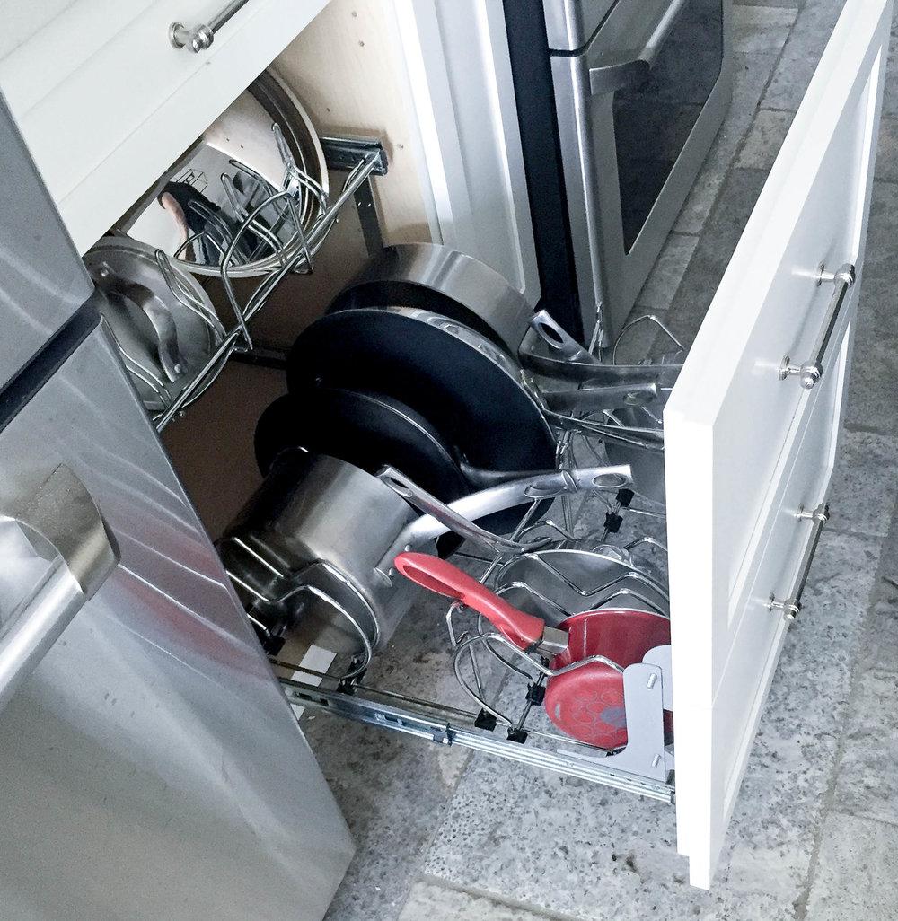 Kitchen pots and pans organizer.