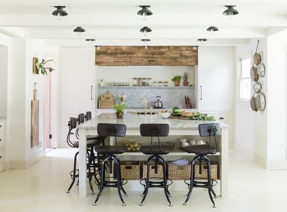 Lauren Liess' painted white floor and gorgeous kitchen.