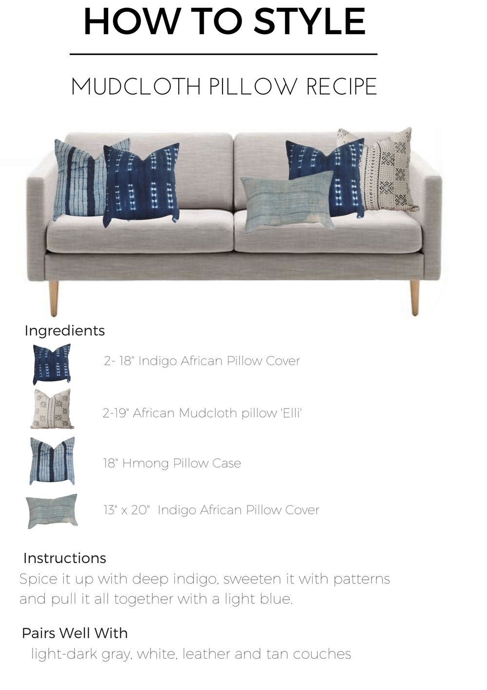 mudcloth pillow combination